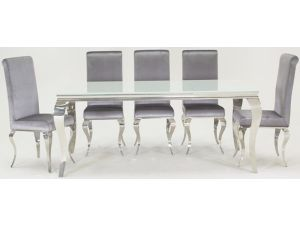 Louis 200cm White Glass Large Dining Table With 8 Silver Chairs