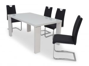 Fairmont Lucca White High Gloss Dining Table + 6 Gabi Chairs
