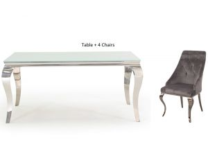 Louis 160cm White Glass Dining Table + Cassia Grey Fabric Chairs