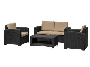 Royalcraft Brooklyn Black 4 Seat Sofa Lounging Garden Coffee Set with Cushions