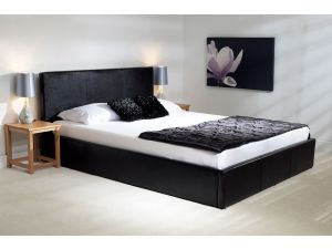 Emporia Madrid 5ft Kingsize Black Leather Ottoman Bed