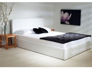 Emporia Madrid 6ft Super Kingsize White Leather Ottoman Bed