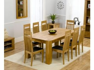 Madrid 240cm Solid Oak Extending Dining Table + 8 Monte Carlo Slatted Chairs