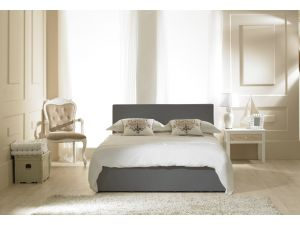 Emporia Madrid 6ft Super Kingsize Grey Faux Leather Ottoman Bed