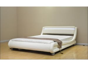 Montana 3ft4 Oversize Single White Leather LED Bed