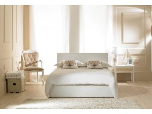 Emporia Madrid White Faux Leather 5ft Kingsize Ottoman Bed