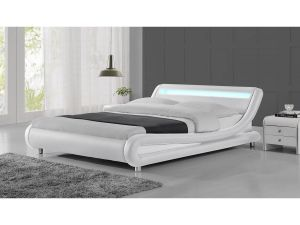 Montana 4ft6 Double White Led Leather Bed