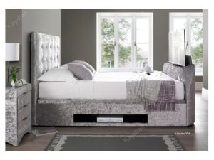 Kaydian Barnard 5ft Kingsize Silver Fabric Tv Ottoman Storage Bed