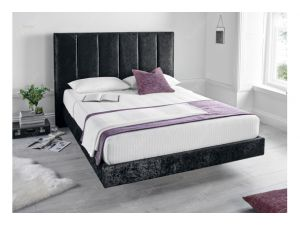 Kaydian Clarice 4ft6 Double Crushed Velvet Black Fabric Bed With 2 Usb Port
