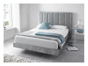 Kaydian Clarice 4ft6 Double Crushed Velvet Silver Fabric Bed With 2 Usb Port