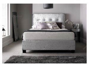 Kaydian Walkworth Ottoman 5ft Kingsize Storage Silver Crushed Velvet Fabric Bed