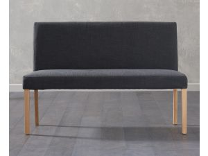 Maiya Black Faux Leather Large Bench with Back