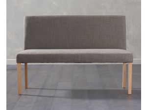 Maiya Brown Fabric Large Bench with Back