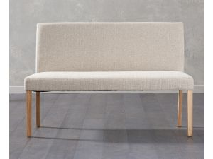 Maiya Cream Fabric Large Bench with Back
