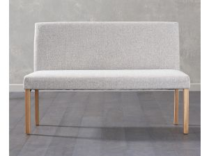 Maiya Grey Fabric Large Bench with Back
