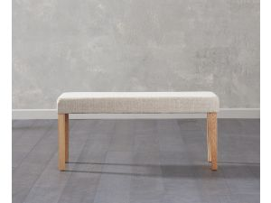 Maiya Cream Faux Leather Small Bench