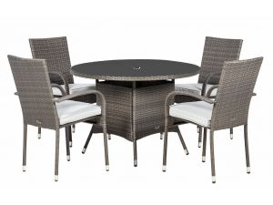 Royalcraft Malaga Grey Rattan 4 Seat Round Stacking Garden Set with WS Cushions