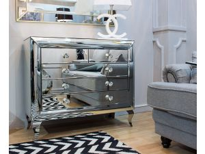 Monroe Silver Mirrored 2 Doors 3 Drawers Chest