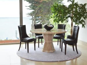 Marcello Cream Marble Round Dining Table With 4 Brown Leather Chairs