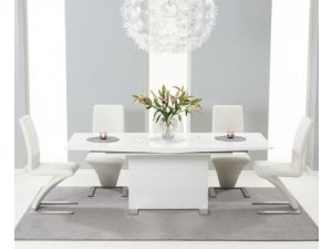 Seville 160 High Gloss Extending Dining Table With 6 Malibu Grey Leather Chairs