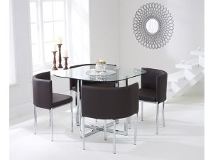 Abingdon Stowaway Glass Dining Table + 4 Brown Chairs