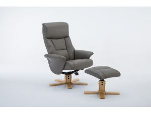 Marseille Grey Leather Swivel Recliner With Footstool