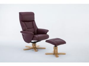Marseille Burgundy Leather Swivel Recliner With Footstool