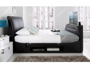 Kaydian Maximus 6ft Super Kingsize Regus Black TV And Soundbar Leather Bed