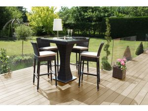 Maze 4 Seat Brown Rattan Square Bar Set with Ice Bucket