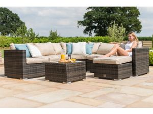 Maze Barcelona Brown Rattan Corner Group with Ice Bucket and Chair