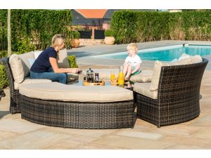 Maze Chelsea Brown Rattan Lifestyle Suite with Glass Table Top