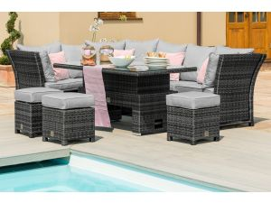 Maze Henley Grey Rattan Corner Dining Set with Rising Table