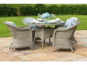 Maze Oxford Grey Rattan 4 Seat Round Dining Set With Heritage Chairs