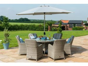Maze Oxford Grey Rattan 6 Seat Round Ice Bucket Set with Venice Chairs