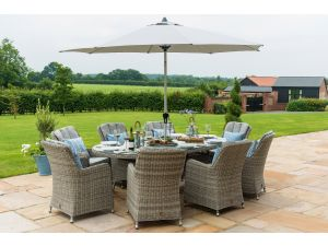 Maze Oxford Grey Rattan 8 Seat Oval Ice Bucket Set with Venice Chairs