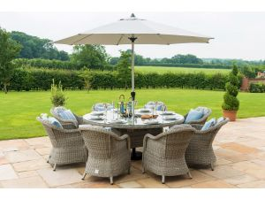 Maze Oxford Grey Rattan 8 Seat Round Ice Bucket Set with Heritage Chairs