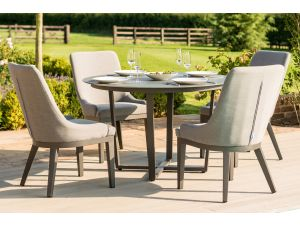 Maze Pacific 4 Seat Flanelle Grey Outdoor Fabric Round Dining Set
