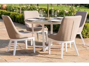 Maze Pacific 4 Seat Taupe Outdoor Fabric Round Dining Set