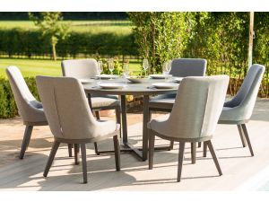 Maze Pacific 6 Seat Flanelle Grey Outdoor Fabric Round Dining Set
