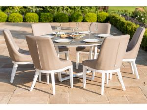 Maze Pacific 6 Seat Taupe Outdoor Fabric Round Dining Set