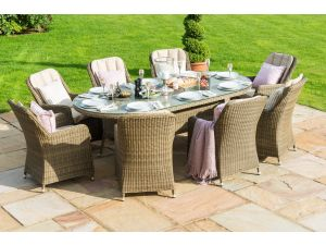 Maze Winchester 8 Seat Oval Ice Bucket Dining Set with Venice Chairs and Lazy Susan