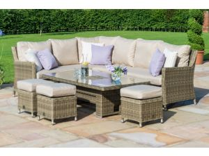 Maze Winchester Natural Rattan Corner Dining Set with Ice Bucket and Rising Table