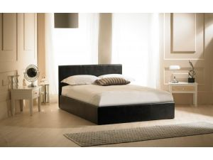 Emporia Madrid 4ft Small Double Black Leather Ottoman Bed