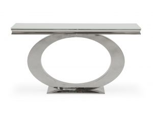 Orion White Glass Metal Console Table