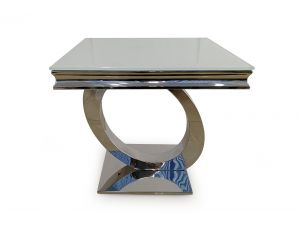 Orion White Glass Metal Lamp Table