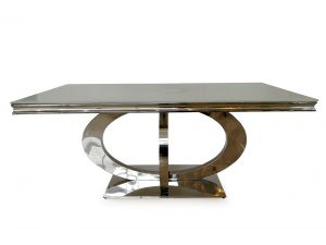 Orion White Glass 180cm Metal Dining Table