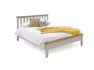 Ferndale Grey Painted with Oak Double - 4ft6 Low Footboard Bed