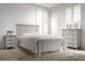 Mila Taupe 5ft Kingsize Panelled Wooden Bed