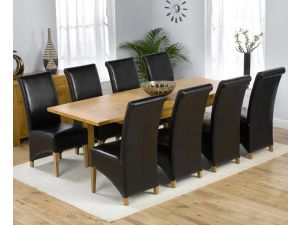 Rustique 120cm Solid Oak Extending Dining Table + 6 Barcelona Leather Chairs