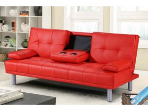 Miami Red Leather Sofa Bed